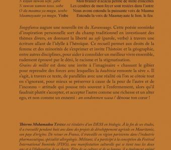 Littérature: Vient de paraître 'Soogofunsu-Grains de millet' de Thierno Tandia