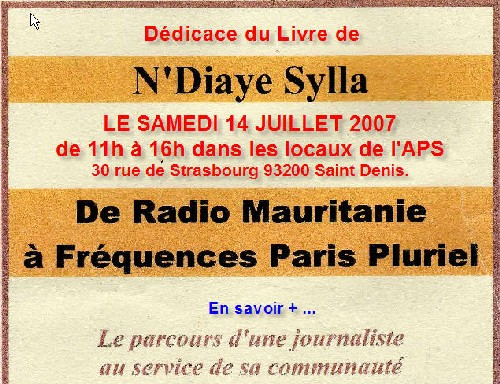 Dédicace du Livre de N'diaye Sylla: De Radio Mauritanie à Fréquence Paris Plurielle