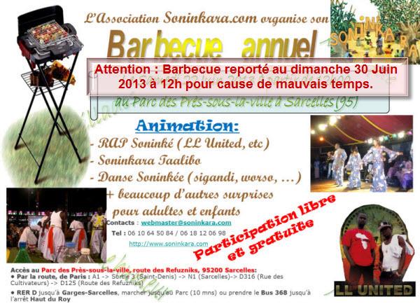 Ne ratez pas cet événement annuel - Participez au Barbecue Soninkara - Entrée libre - Cliquez pour en savoir +